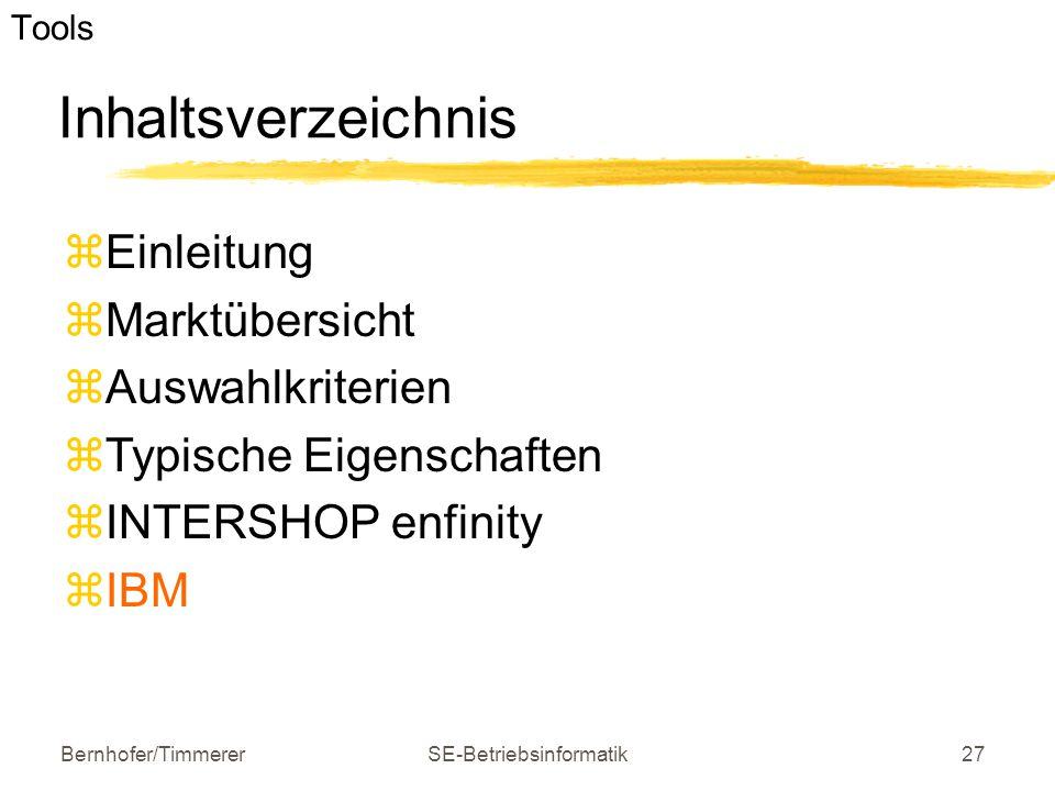 e-business Software und Tools