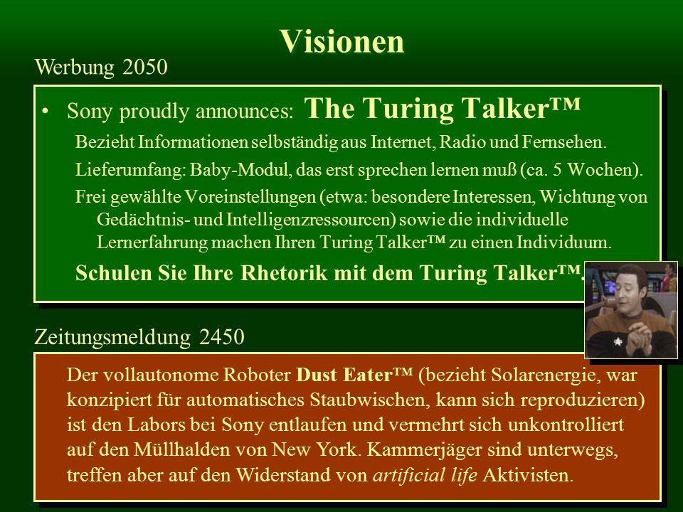 Visionen Werbung 2050 Sony proudly announces: The Turing Talker™