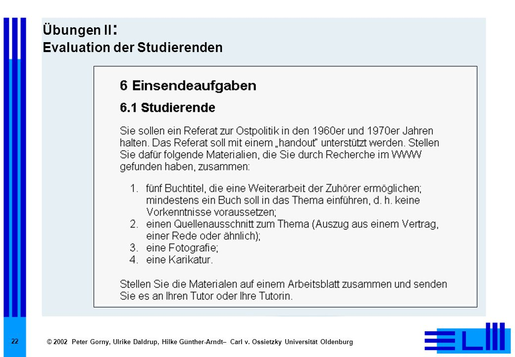 Übungen II: Evaluation der Studierenden