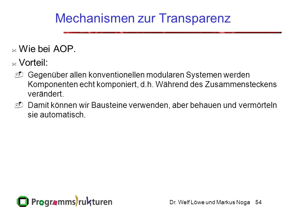 Mechanismen zur Transparenz