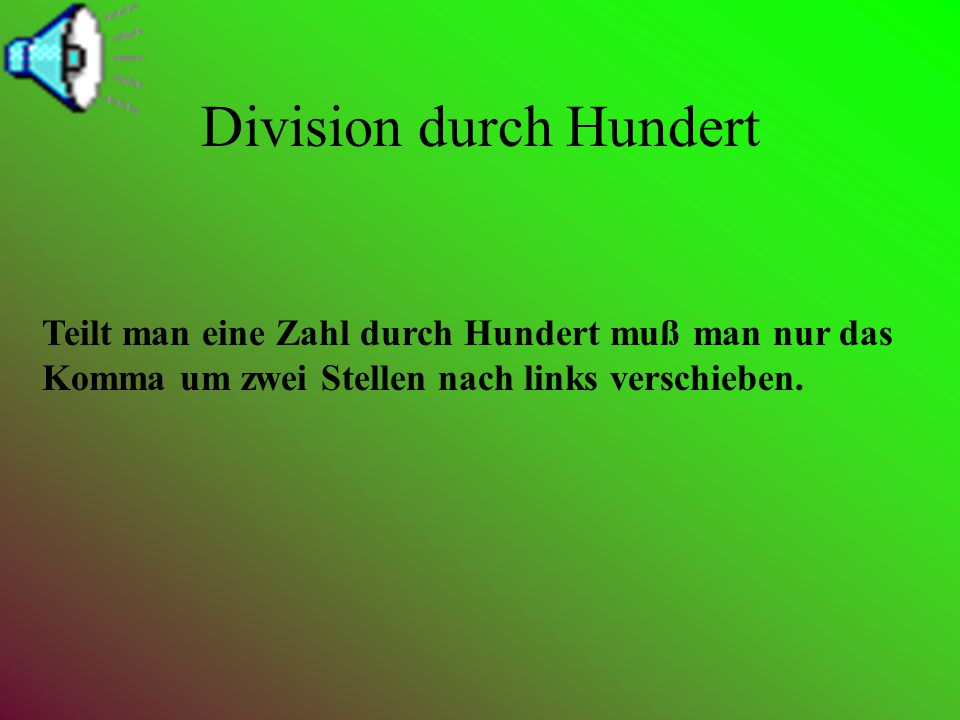 Division durch Hundert