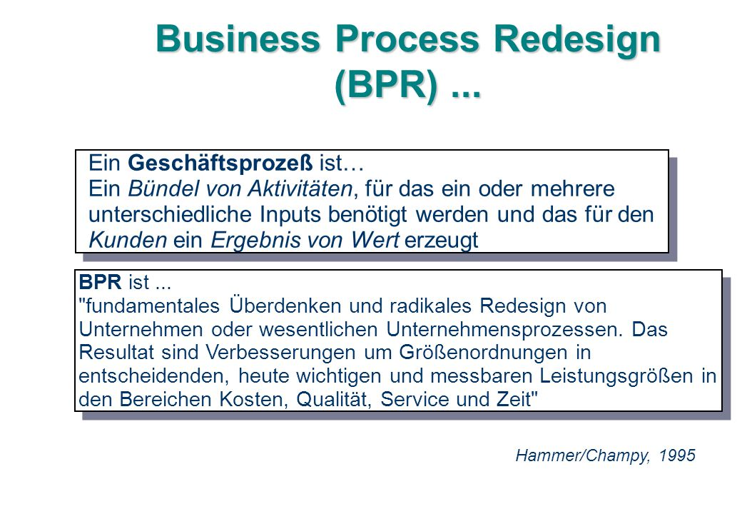 Business Process Redesign (BPR) ...