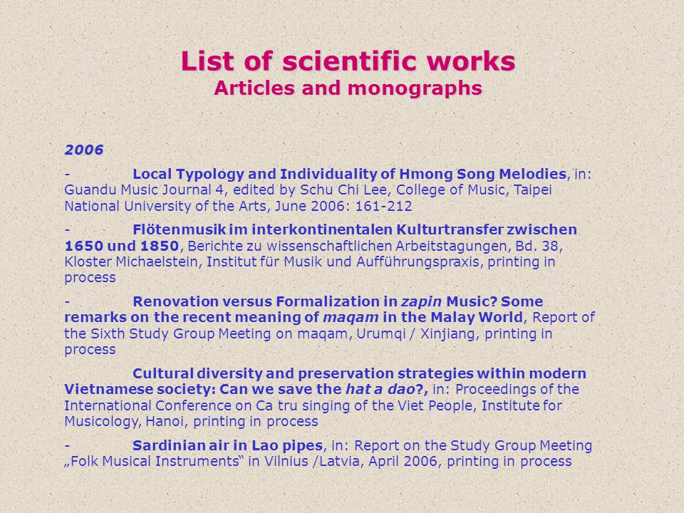 List of scientific works Articles and monographs