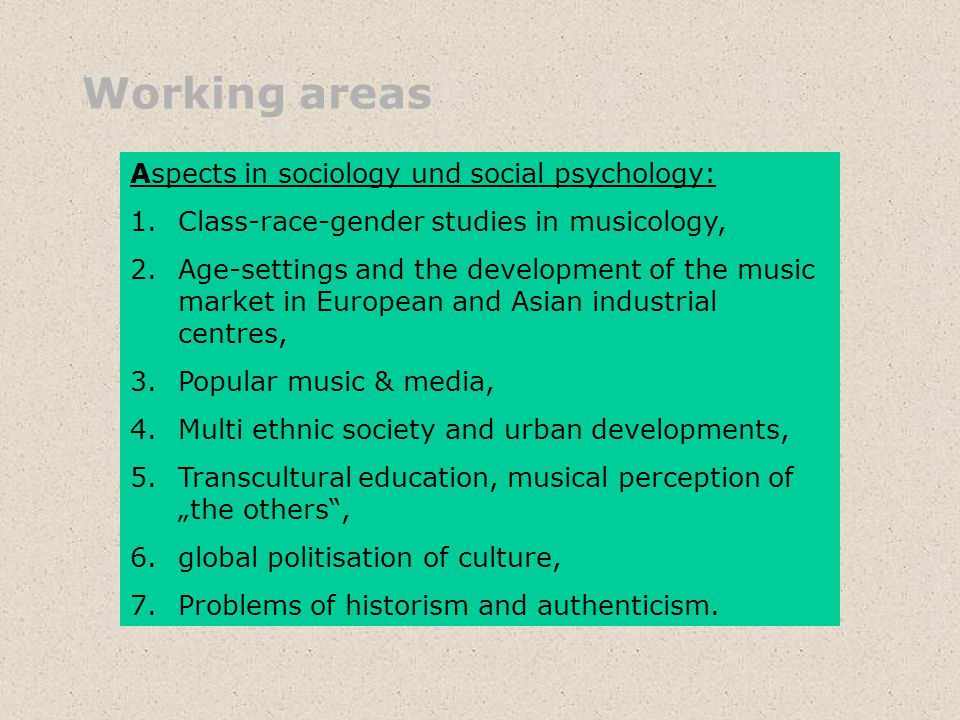 Working areas Aspects in sociology und social psychology: