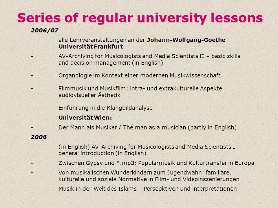 Series of regular university lessons