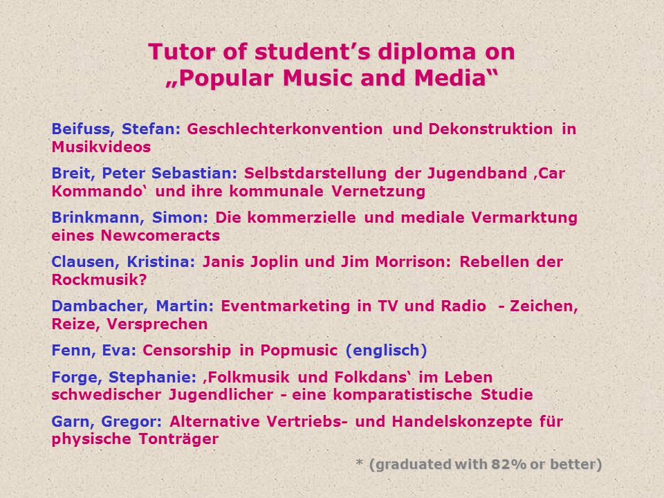 "Tutor of student's diploma on ""Popular Music and Media"