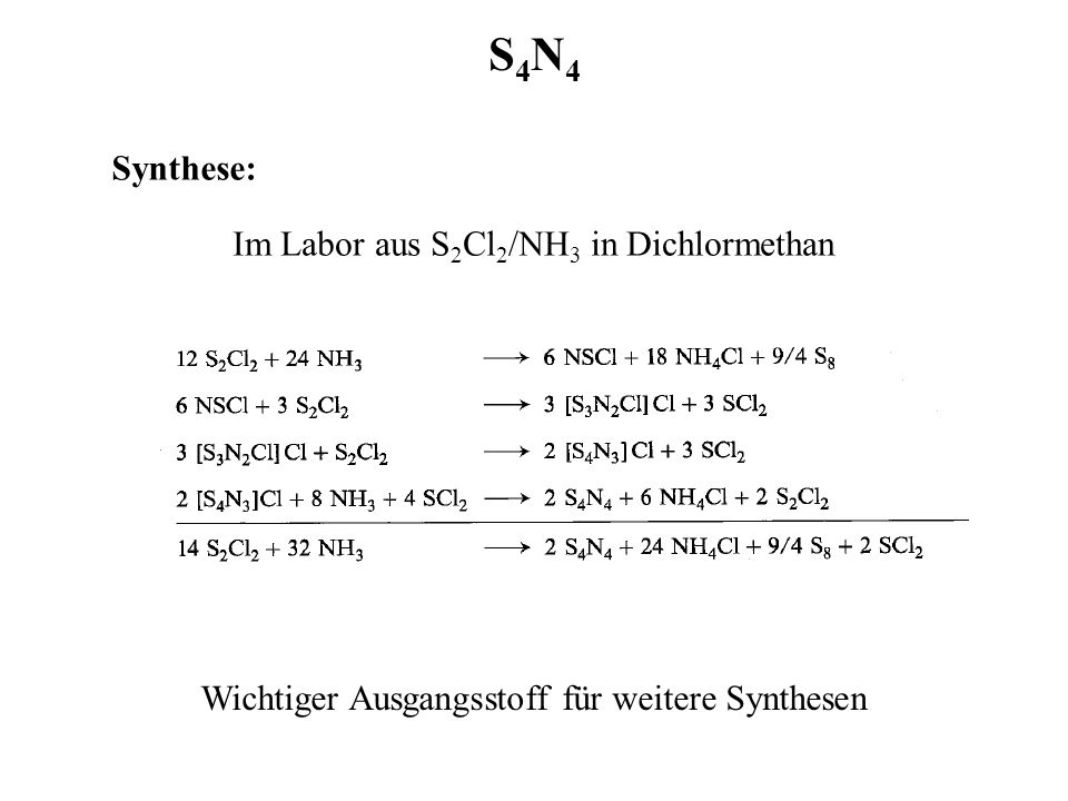 S4N4 Synthese: Im Labor aus S2Cl2/NH3 in Dichlormethan