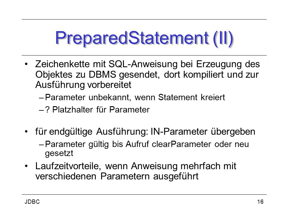 PreparedStatement (II)