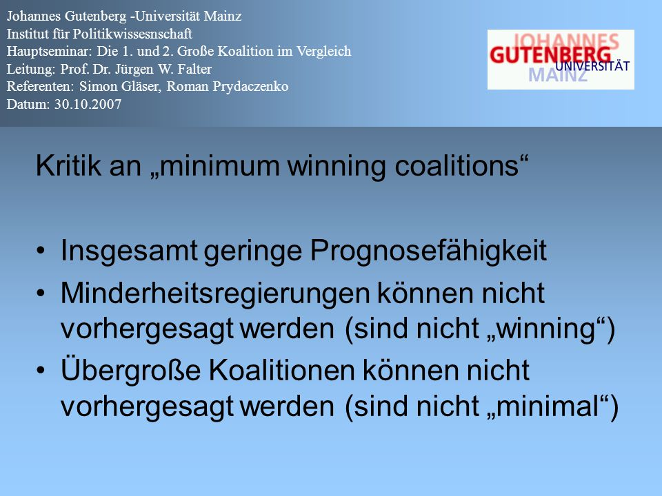 "Kritik an ""minimum winning coalitions"