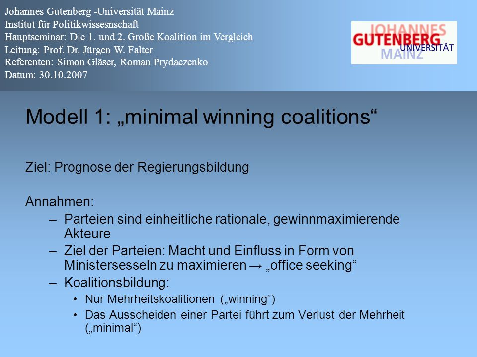 "Modell 1: ""minimal winning coalitions"