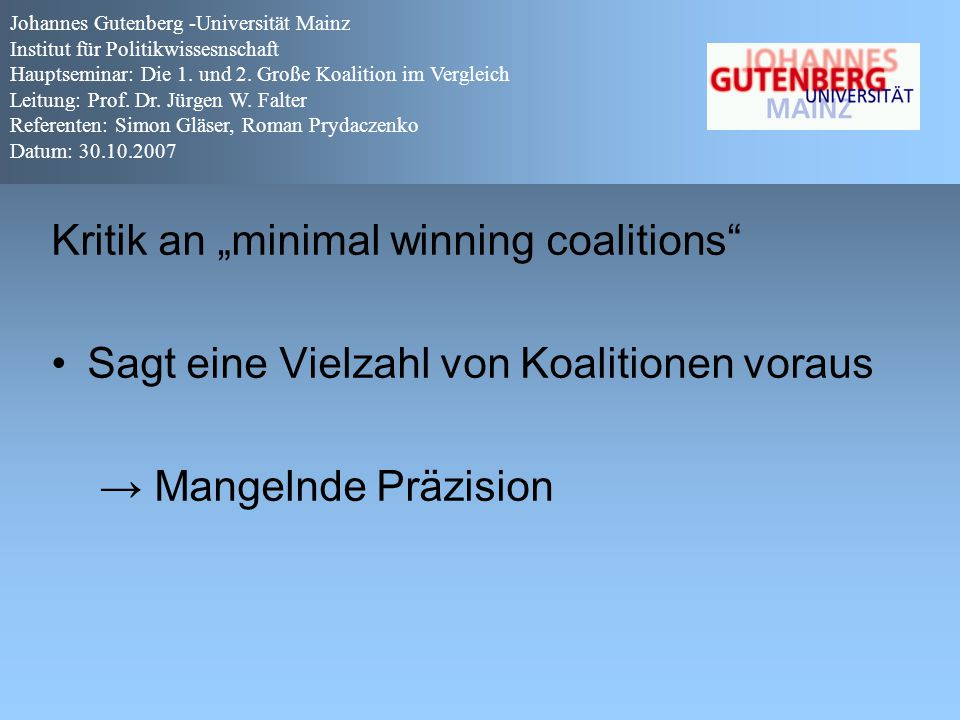 "Kritik an ""minimal winning coalitions"