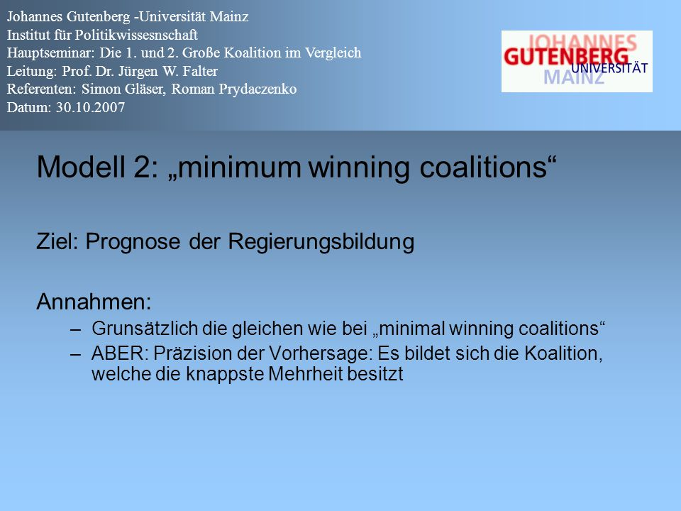 "Modell 2: ""minimum winning coalitions"