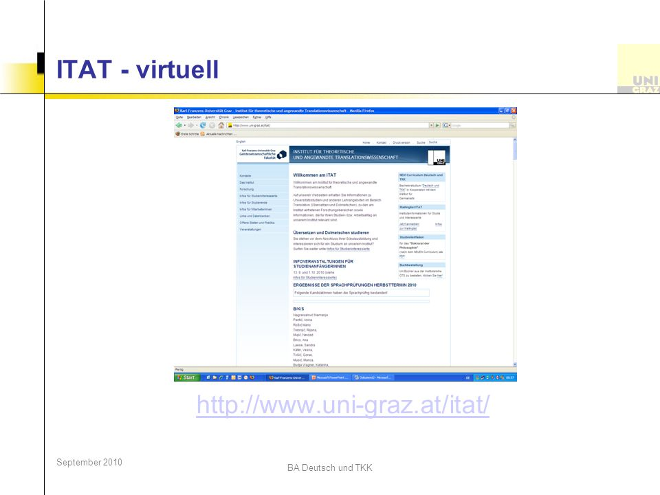 ITAT - virtuell http://www.uni-graz.at/itat/ September 2010