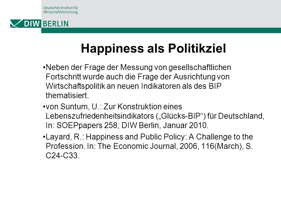 Happiness als Politikziel