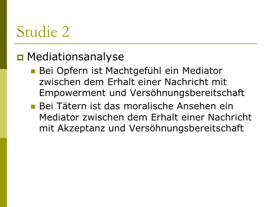 Studie 2 Mediationsanalyse
