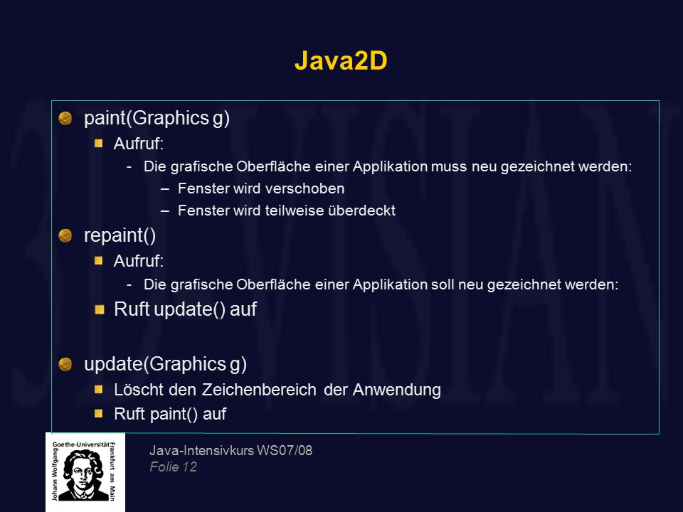 Java2D paint(Graphics g) repaint() Ruft update() auf
