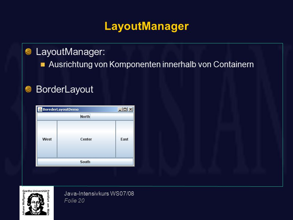 LayoutManager LayoutManager: BorderLayout