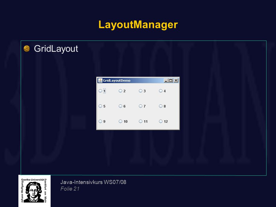 LayoutManager GridLayout Java-Intensivkurs WS07/08 Folie 21