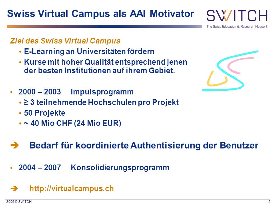 Swiss Virtual Campus als AAI Motivator