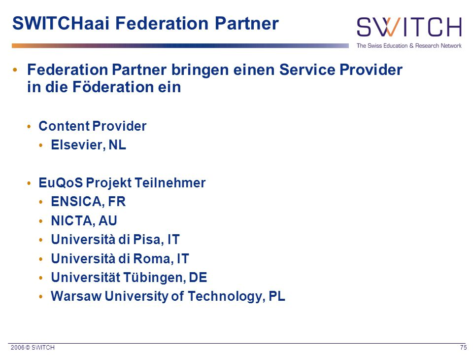 SWITCHaai Federation Partner
