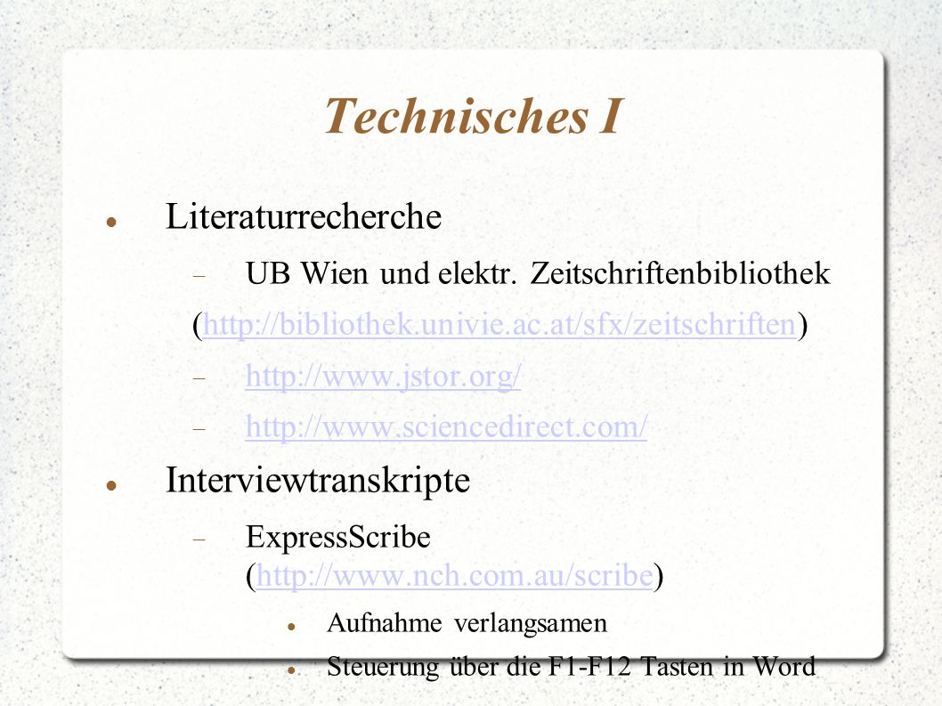 Technisches I Literaturrecherche Interviewtranskripte