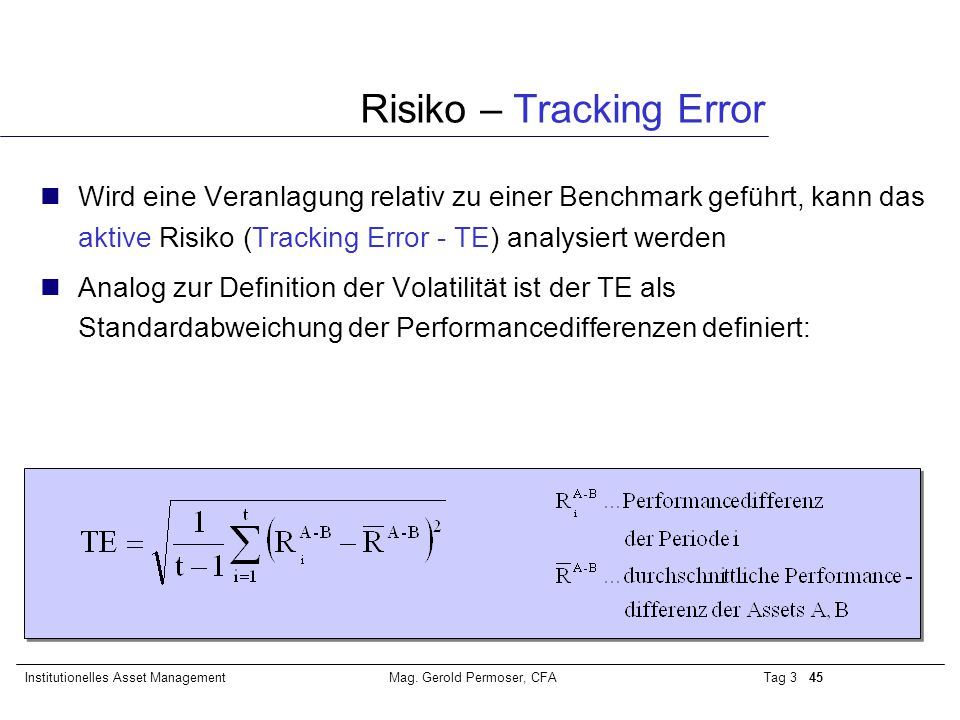 Risiko – Tracking Error