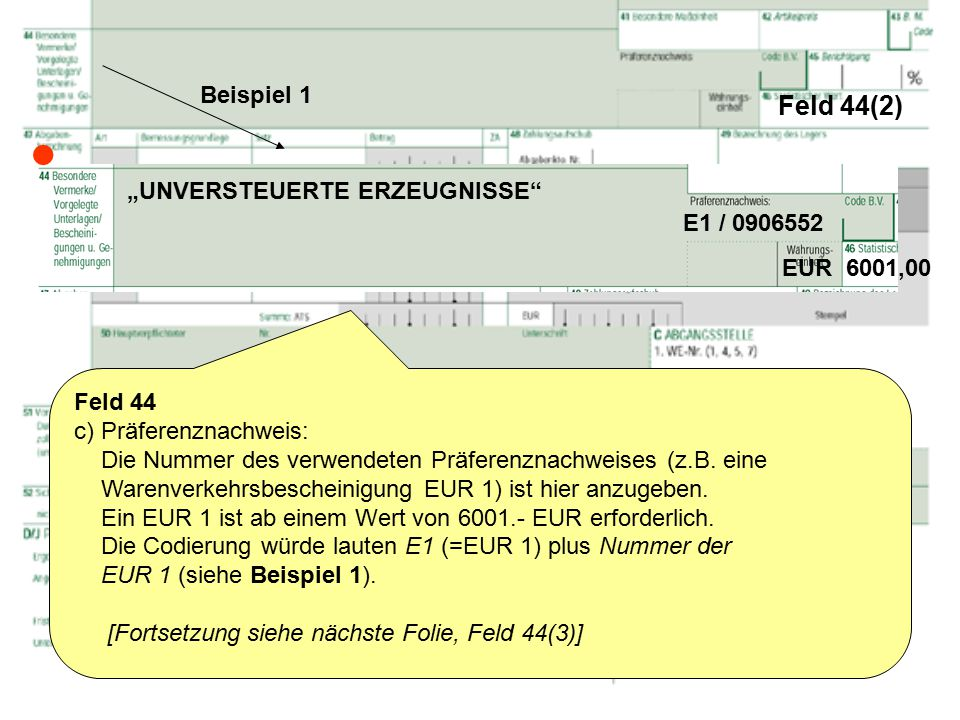 feld 442 beispiel 1 unversteuerte erzeugnisse e1 - Eur Beispiel