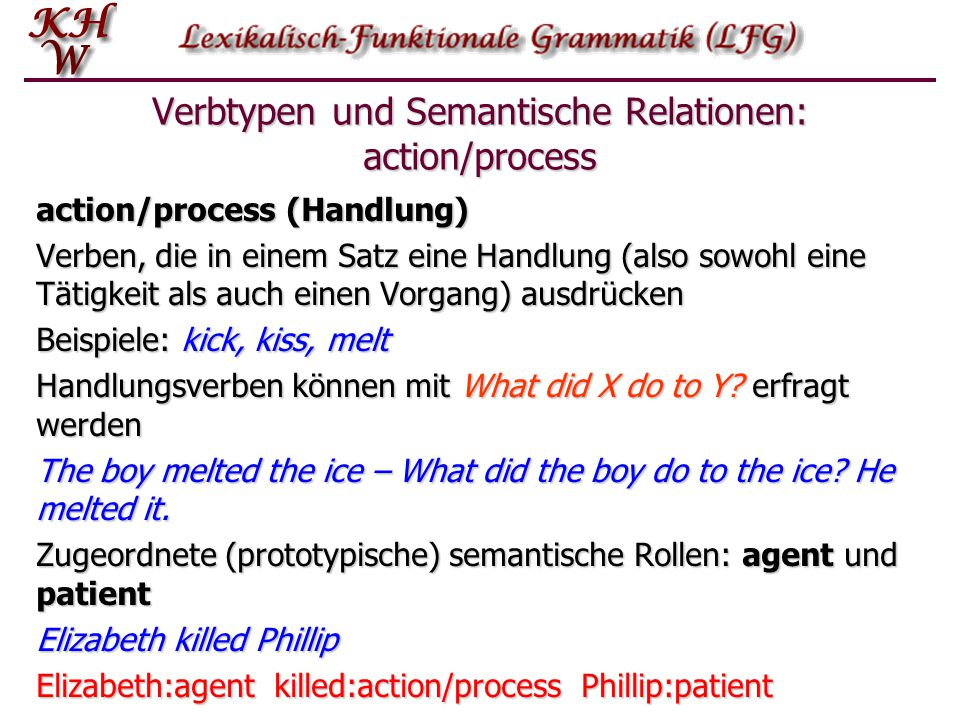 Verbtypen und Semantische Relationen: action/process