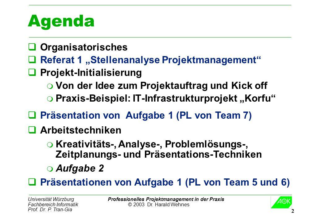 "Agenda Organisatorisches Referat 1 ""Stellenanalyse Projektmanagement"