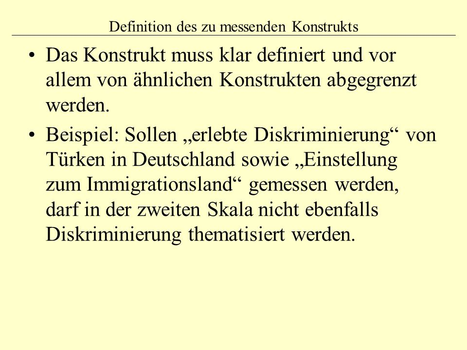 Definition des zu messenden Konstrukts