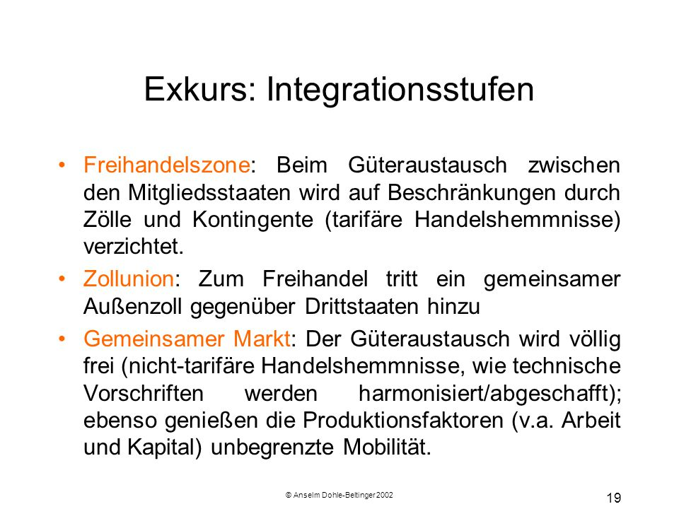 Exkurs: Integrationsstufen