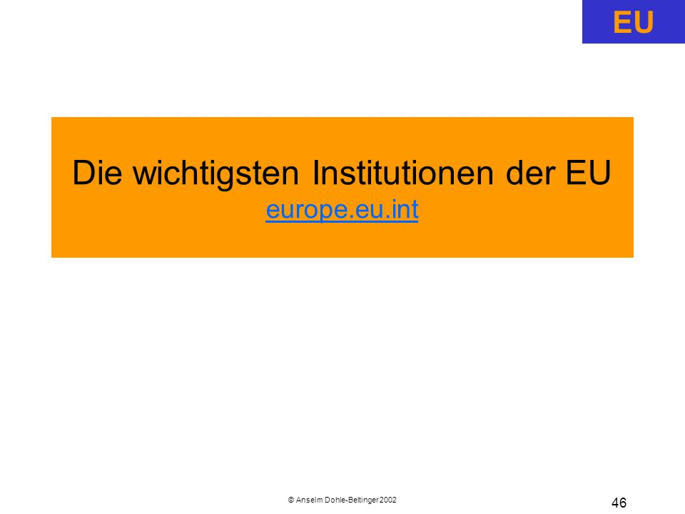 Die wichtigsten Institutionen der EU europe.eu.int