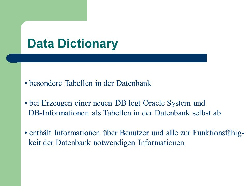 Data Dictionary besondere Tabellen in der Datenbank