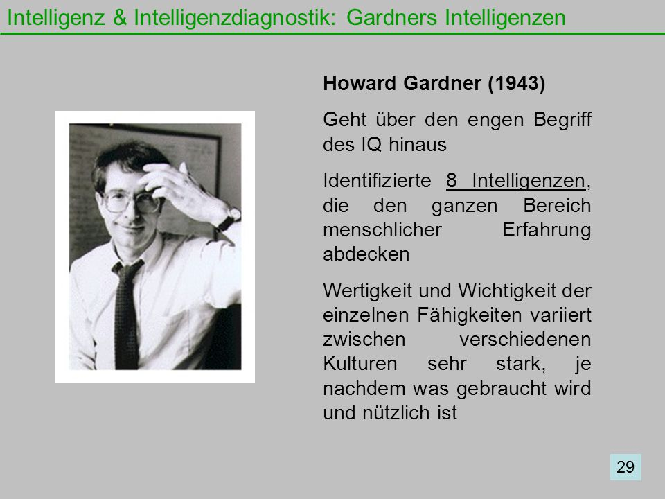 Intelligenz & Intelligenzdiagnostik: Gardners Intelligenzen