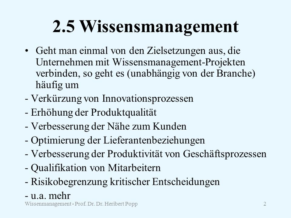 2.5 Wissensmanagement