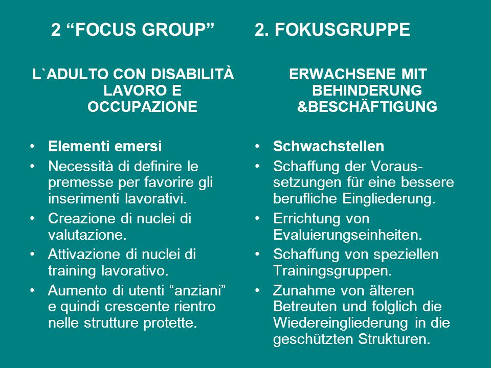 2 FOCUS GROUP 2. FOKUSGRUPPE