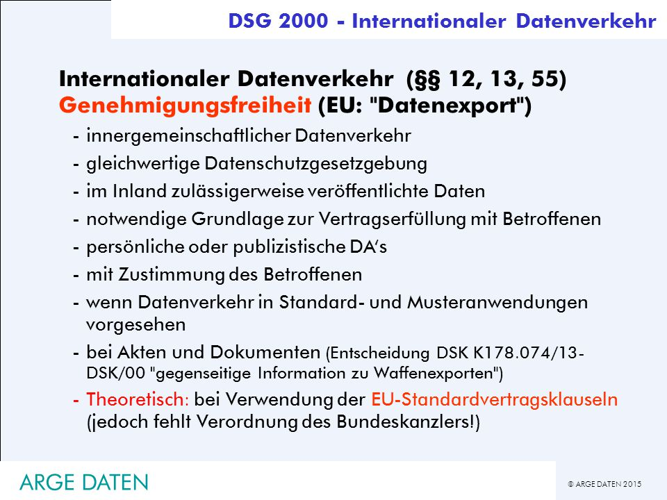 DSG 2000 - Internationaler Datenverkehr