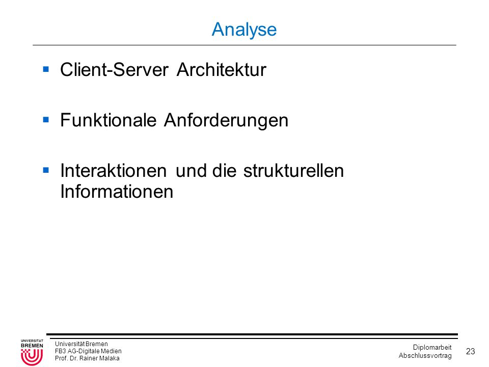 Analyse Client-Server Architektur. Funktionale Anforderungen.