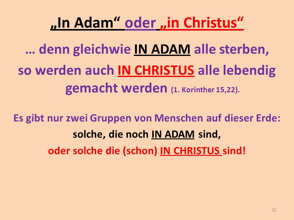 """In Adam oder ""in Christus"