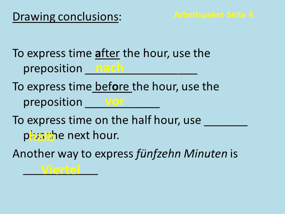Drawing conclusions: To express time after the hour, use the preposition __________________ To express time before the hour, use the preposition ____________ To express time on the half hour, use _______ plus the next hour. Another way to express fünfzehn Minuten is ____________