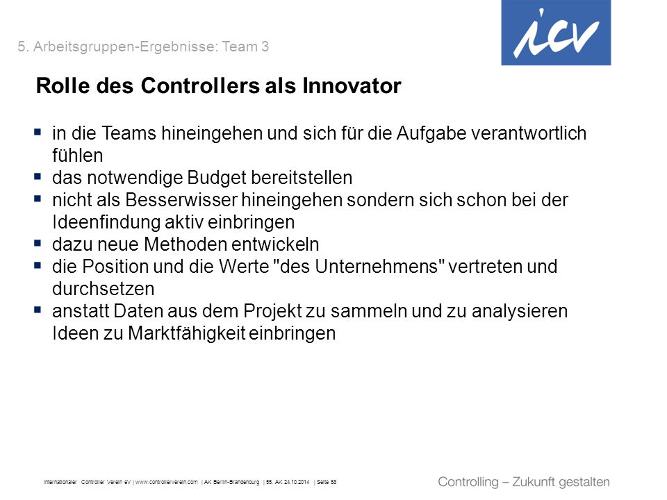 Rolle des Controllers als Innovator