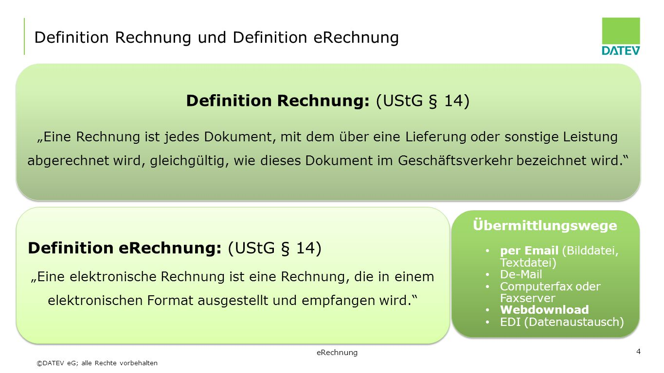 Definition Rechnung und Definition eRechnung