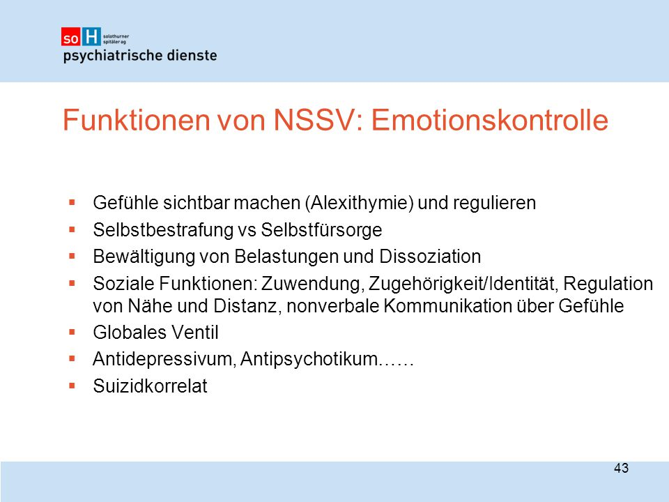 Funktionen von NSSV: Emotionskontrolle