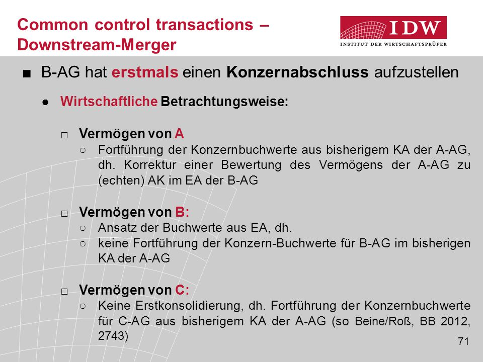 Common control transactions – Downstream-Merger