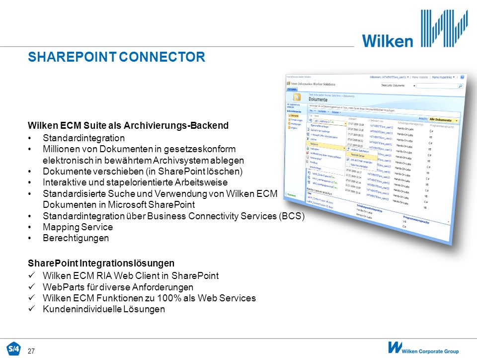 SHAREPOINT CONNECTOR Wilken ECM Suite als Archivierungs-Backend