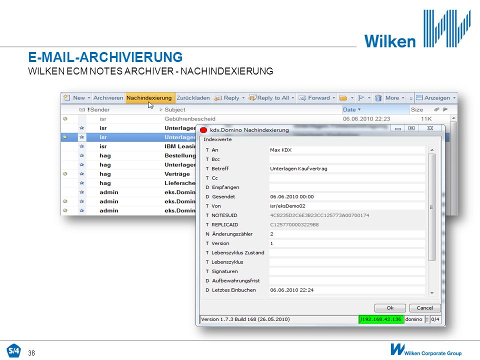 E-Mail-archivierung Wilken ecm Notes archiver - nachindexierung