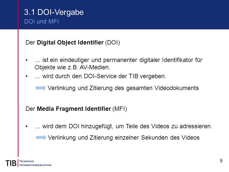 3.1 DOI-Vergabe DOI und MFI Der Digital Object Identifier (DOI)