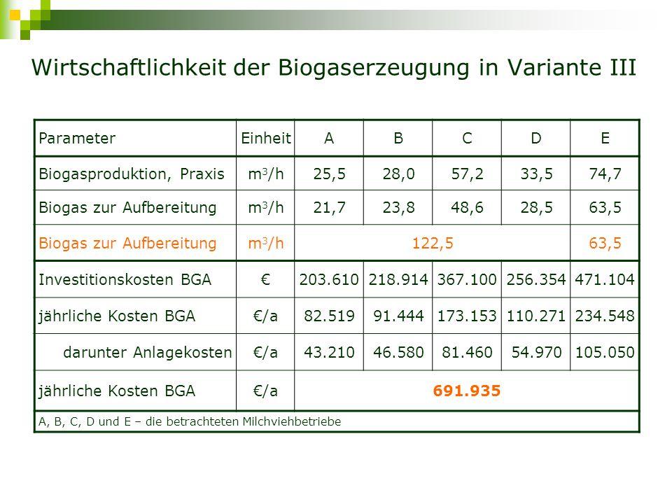 Gemeinsame Ökonomische Bewertung der Biogaserzeugung aus &GM_15