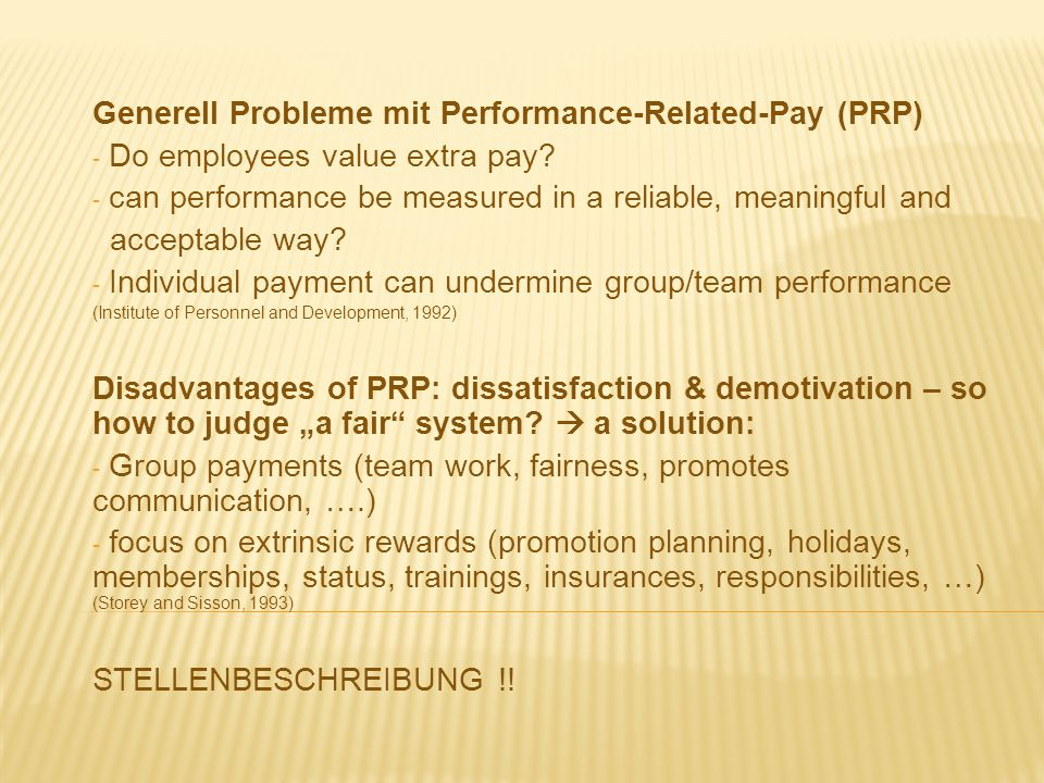 Generell Probleme mit Performance-Related-Pay (PRP)