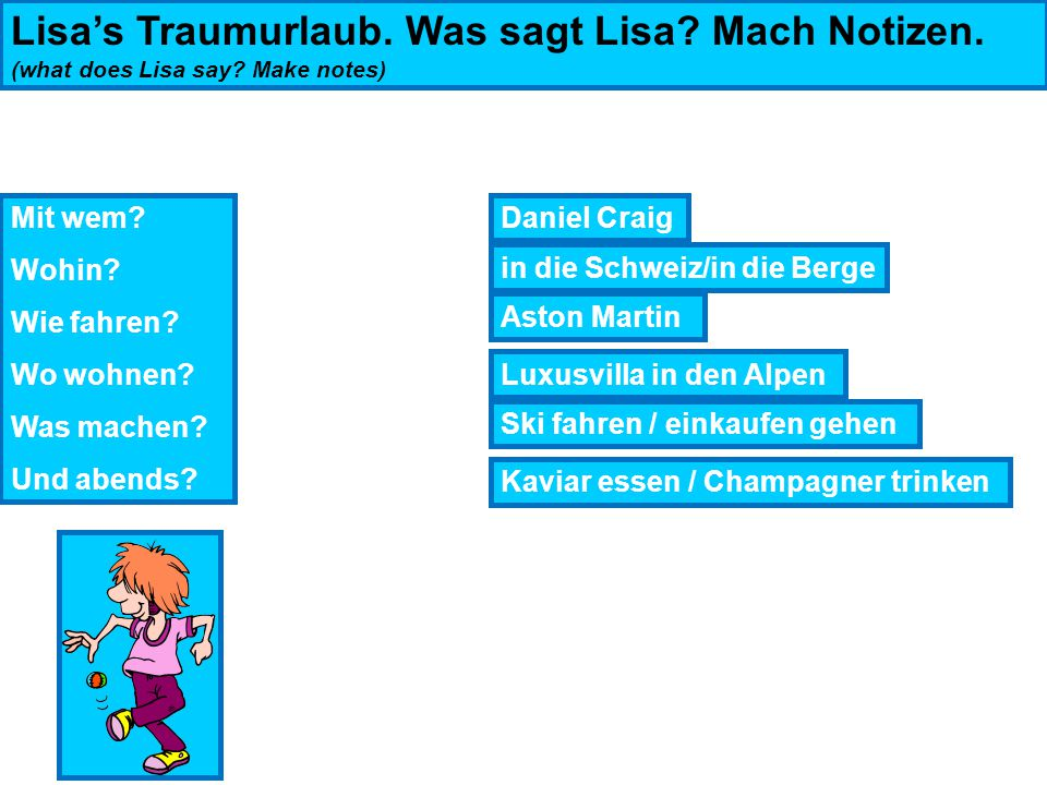Lisa's Traumurlaub. Was sagt Lisa. Mach Notizen. (what does Lisa say